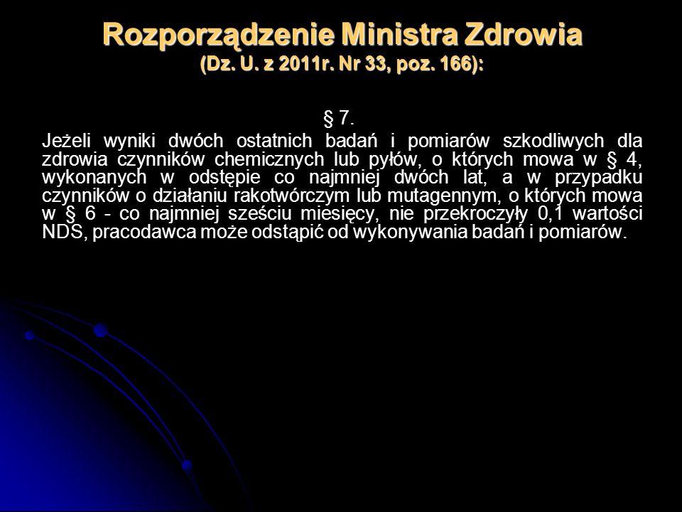 Rozporządzenie Ministra Zdrowia (Dz. U. z 2011r. Nr 33, poz. 166): § 7. Jeżeli wyniki dwóch ostatnich badań i pomiarów szkodliwych dla zdrowia czynnik