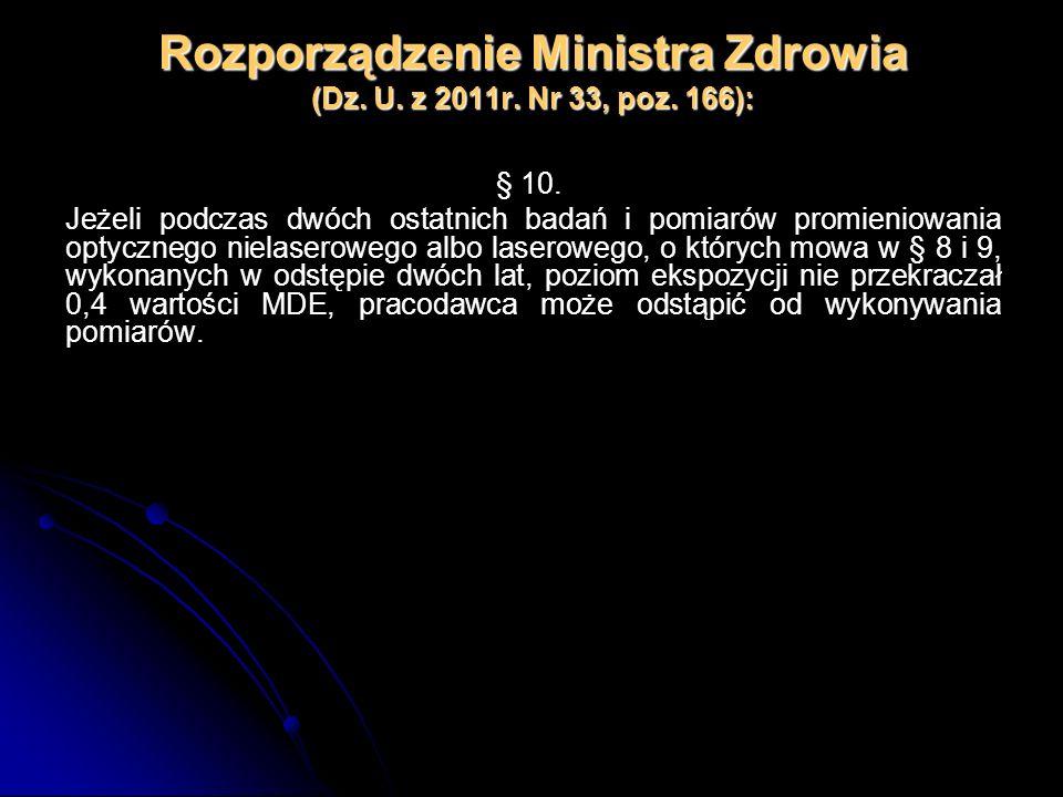 Rozporządzenie Ministra Zdrowia (Dz. U. z 2011r. Nr 33, poz. 166): § 10. Jeżeli podczas dwóch ostatnich badań i pomiarów promieniowania optycznego nie