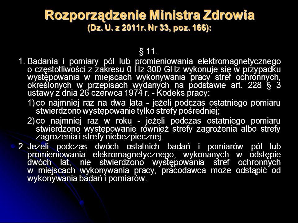 Rozporządzenie Ministra Zdrowia (Dz. U. z 2011r. Nr 33, poz. 166): § 11. 1.Badania i pomiary pól lub promieniowania elektromagnetycznego o częstotliwo
