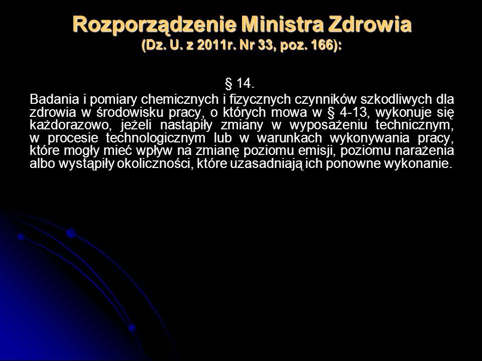 Rozporządzenie Ministra Zdrowia (Dz. U. z 2011r. Nr 33, poz. 166): § 14. Badania i pomiary chemicznych i fizycznych czynników szkodliwych dla zdrowia
