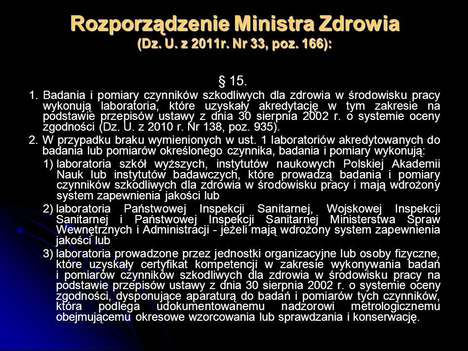 Rozporządzenie Ministra Zdrowia (Dz. U. z 2011r. Nr 33, poz. 166): § 15. 1.Badania i pomiary czynników szkodliwych dla zdrowia w środowisku pracy wyko