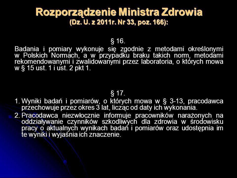 Rozporządzenie Ministra Zdrowia (Dz. U. z 2011r. Nr 33, poz. 166): § 16. Badania i pomiary wykonuje się zgodnie z metodami określonymi w Polskich Norm