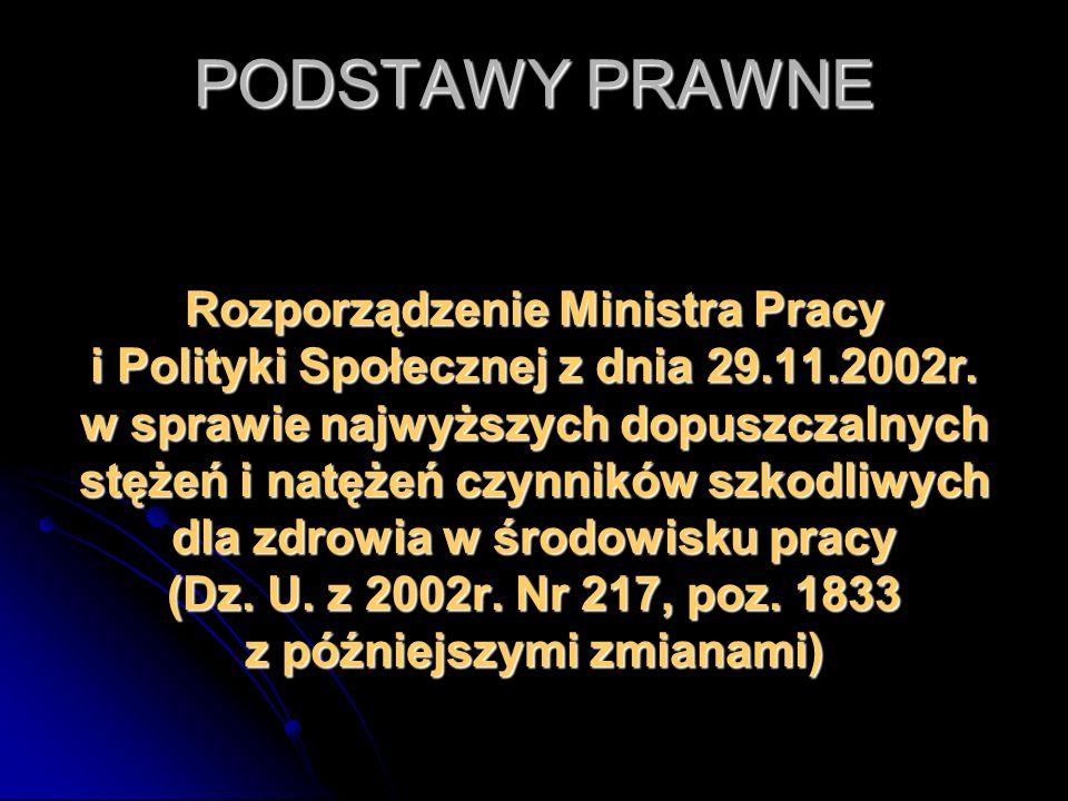 PODSTAWY PRAWNE Rozporządzenie Ministra Pracy i Polityki Społecznej z dnia 29.11.2002r. w sprawie najwyższych dopuszczalnych stężeń i natężeń czynnikó