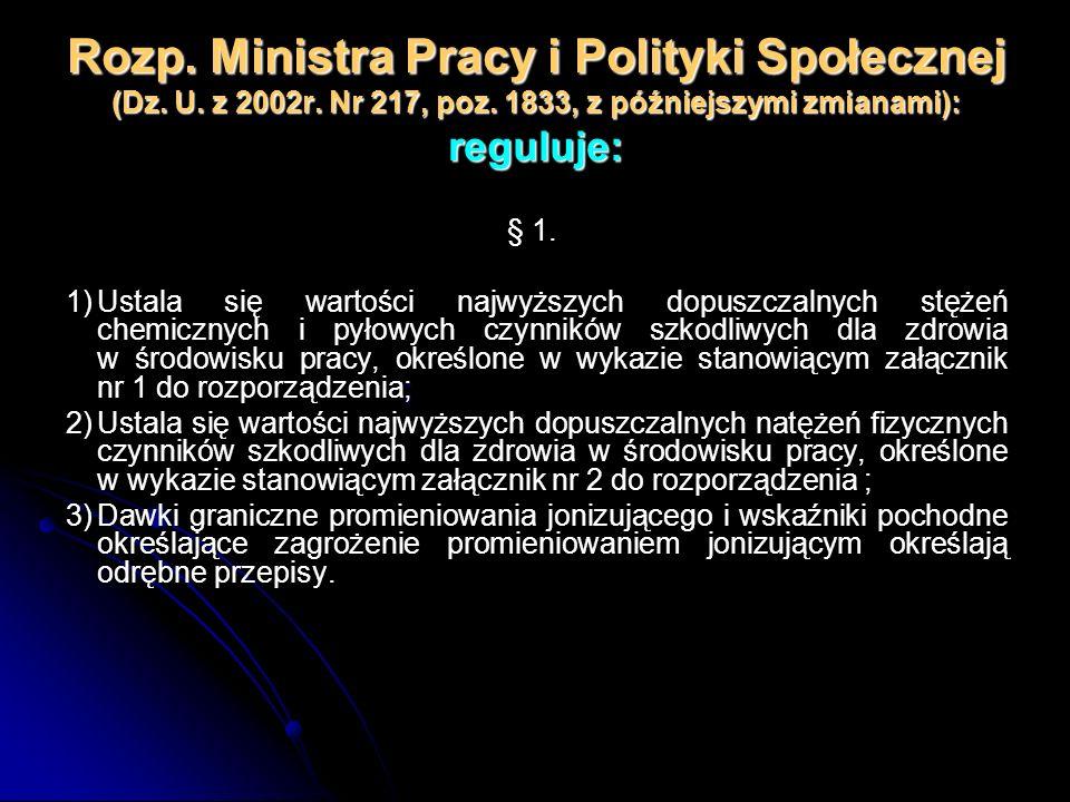 Rozp. Ministra Pracy i Polityki Społecznej (Dz. U. z 2002r. Nr 217, poz. 1833, z późniejszymi zmianami): reguluje: § 1. ; 1)Ustala się wartości najwyż