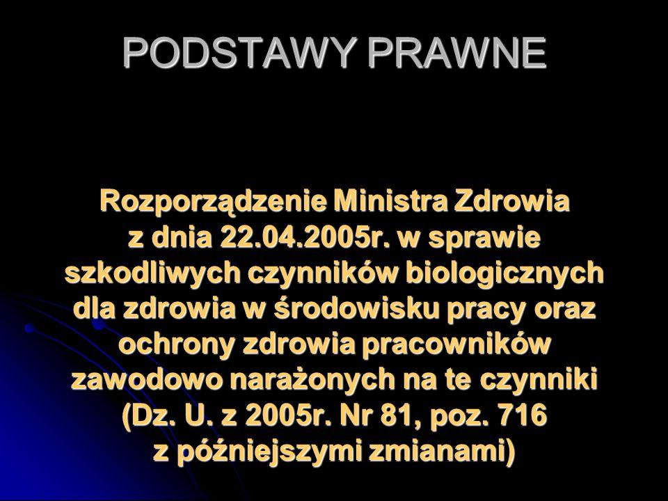 PODSTAWY PRAWNE Rozporządzenie Ministra Zdrowia z dnia 22.04.2005r. w sprawie szkodliwych czynników biologicznych dla zdrowia w środowisku pracy oraz