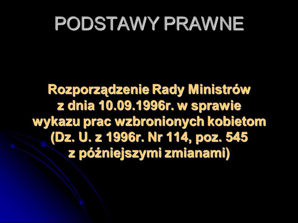 PODSTAWY PRAWNE Rozporządzenie Rady Ministrów z dnia 10.09.1996r. w sprawie wykazu prac wzbronionych kobietom (Dz. U. z 1996r. Nr 114, poz. 545 z późn