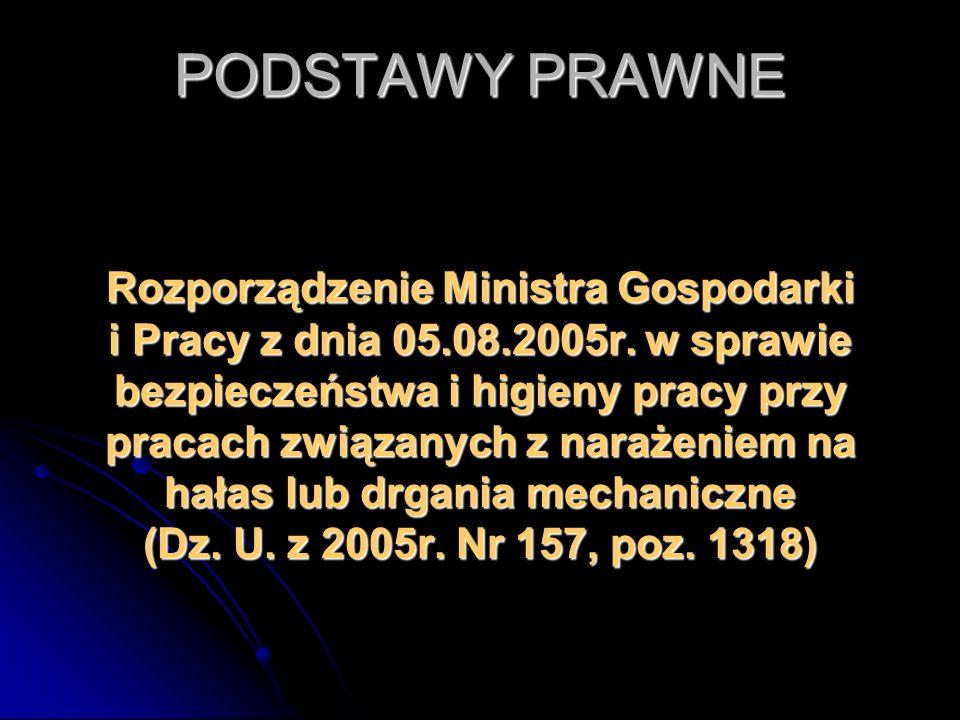 PODSTAWY PRAWNE Rozporządzenie Ministra Gospodarki i Pracy z dnia 05.08.2005r. w sprawie bezpieczeństwa i higieny pracy przy pracach związanych z nara