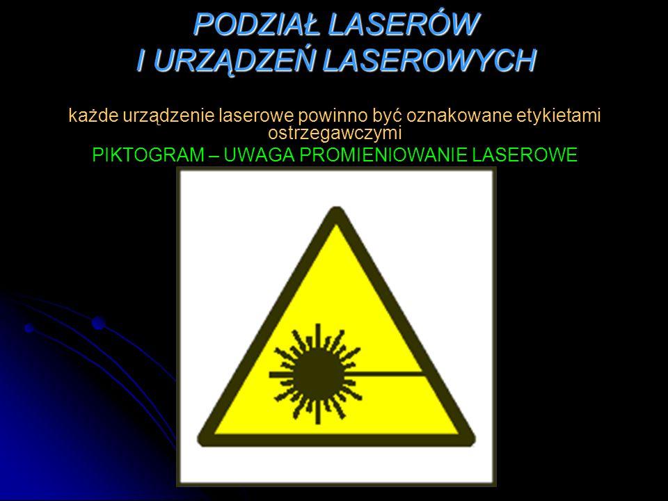 PODZIAŁ LASERÓW I URZĄDZEŃ LASEROWYCH każde urządzenie laserowe powinno być oznakowane etykietami ostrzegawczymi PIKTOGRAM – UWAGA PROMIENIOWANIE LASE