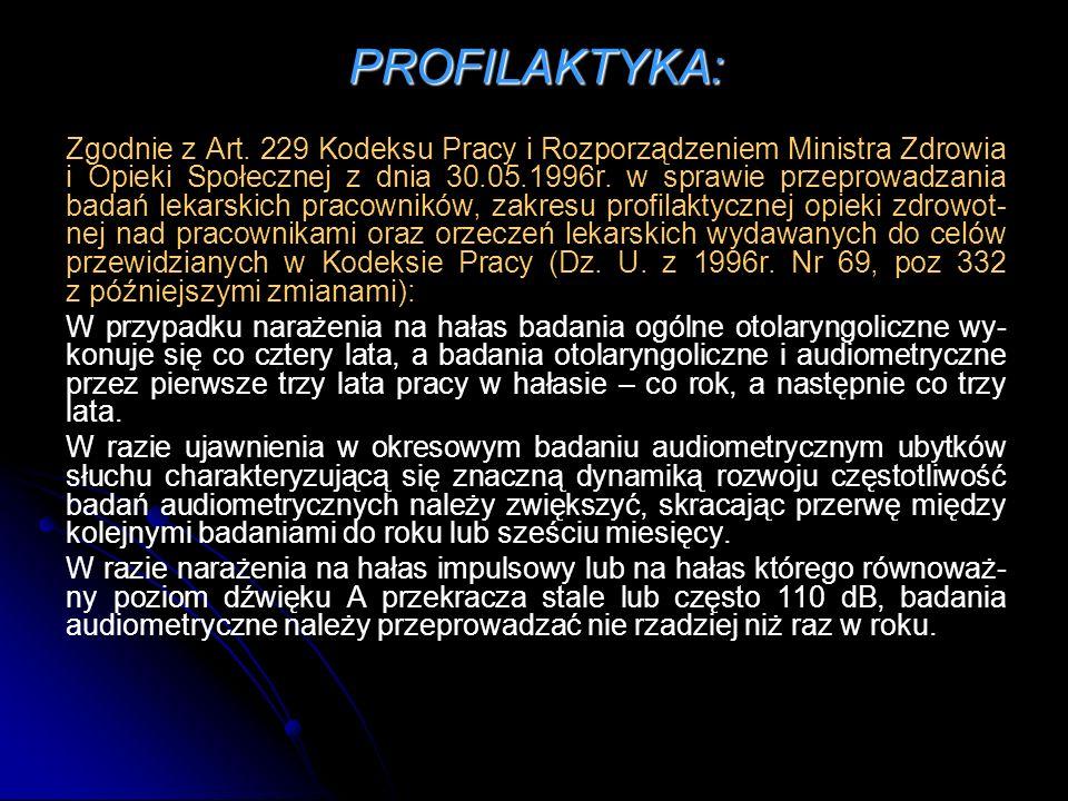 PROFILAKTYKA: Zgodnie z Art. 229 Kodeksu Pracy i Rozporządzeniem Ministra Zdrowia i Opieki Społecznej z dnia 30.05.1996r. w sprawie przeprowadzania ba