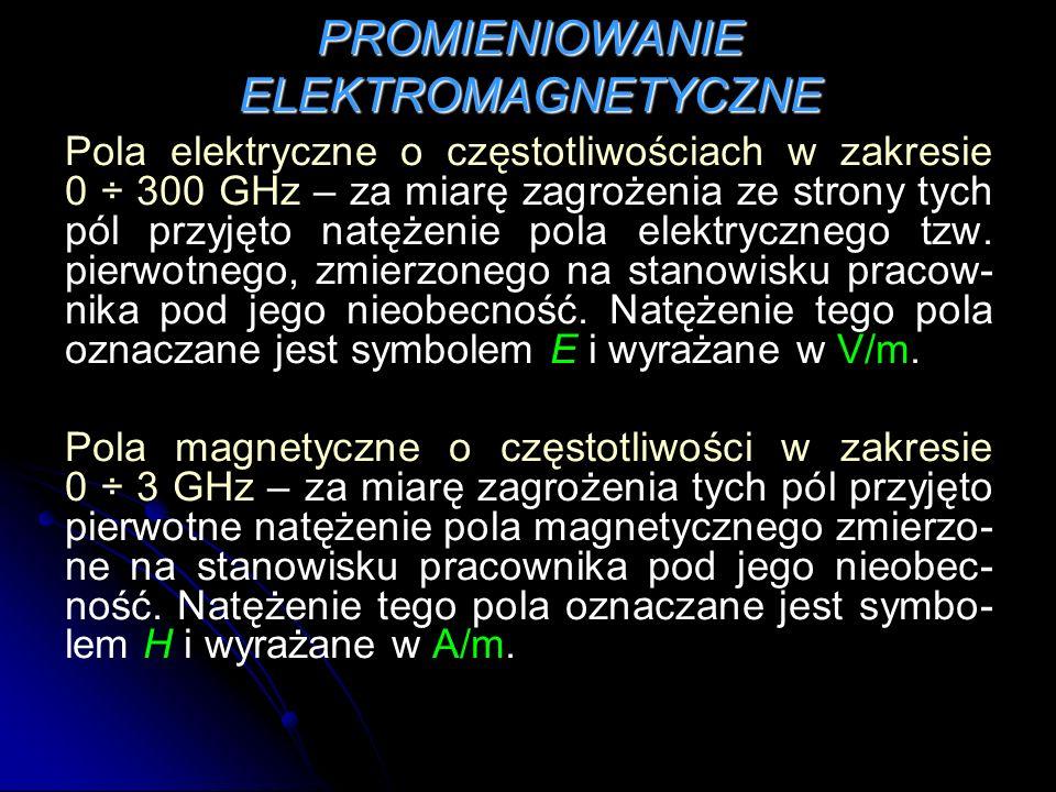 Pola elektryczne o częstotliwościach w zakresie 0 ÷ 300 GHz – za miarę zagrożenia ze strony tych pól przyjęto natężenie pola elektrycznego tzw. pierwo