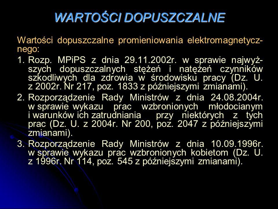 WARTOŚCI DOPUSZCZALNE Wartości dopuszczalne promieniowania elektromagnetycz- nego: 1.Rozp. MPiPS z dnia 29.11.2002r. w sprawie najwyż- szych dopuszcza
