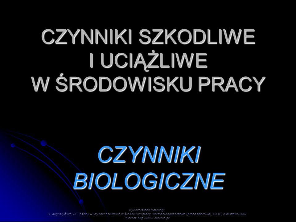 CZYNNIKI SZKODLIWE I UCIĄŻLIWE W ŚRODOWISKU PRACY CZYNNIKI BIOLOGICZNE wykorzystano materiały: D. Augustyńska, M. Pośniak – Czynniki szkodliwe w środo
