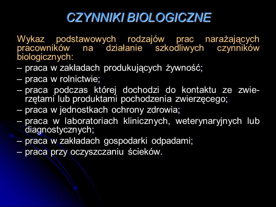 CZYNNIKI BIOLOGICZNE Wykaz podstawowych rodzajów prac narażających pracowników na działanie szkodliwych czynników biologicznych: ; – praca w zakładach