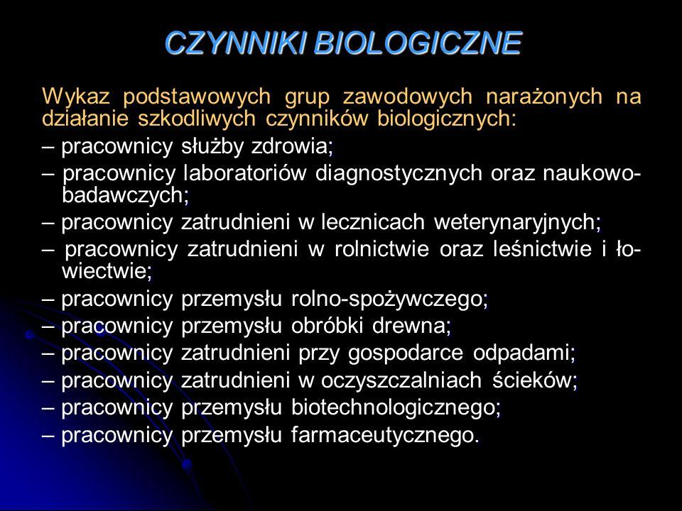 CZYNNIKI BIOLOGICZNE Wykaz podstawowych grup zawodowych narażonych na działanie szkodliwych czynników biologicznych: ; – pracownicy służby zdrowia; ;