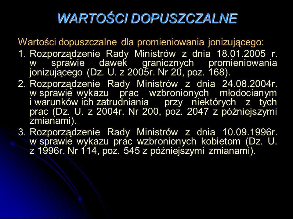 WARTOŚCI DOPUSZCZALNE Wartości dopuszczalne dla promieniowania jonizującego: 1.Rozporządzenie Rady Ministrów z dnia 18.01.2005 r.
