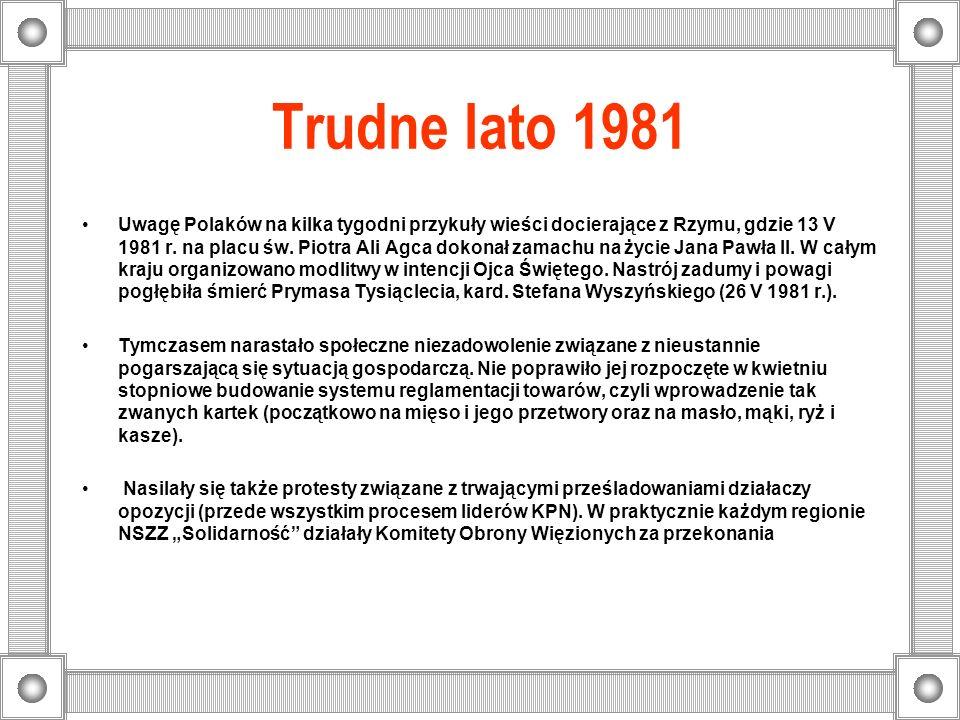 Trudne lato 1981 Uwagę Polaków na kilka tygodni przykuły wieści docierające z Rzymu, gdzie 13 V 1981 r. na placu św. Piotra Ali Agca dokonał zamachu n