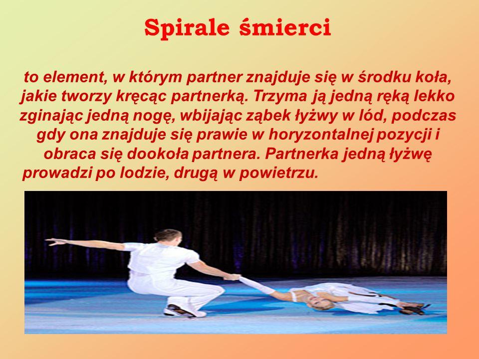Spirale śmierci to element, w którym partner znajduje się w środku koła, jakie tworzy kręcąc partnerką. Trzyma ją jedną ręką lekko zginając jedną nogę