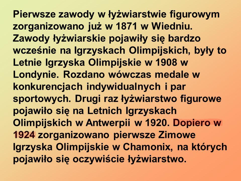 Pierwsze zawody w łyżwiarstwie figurowym zorganizowano już w 1871 w Wiedniu. Zawody łyżwiarskie pojawiły się bardzo wcześnie na Igrzyskach Olimpijskic