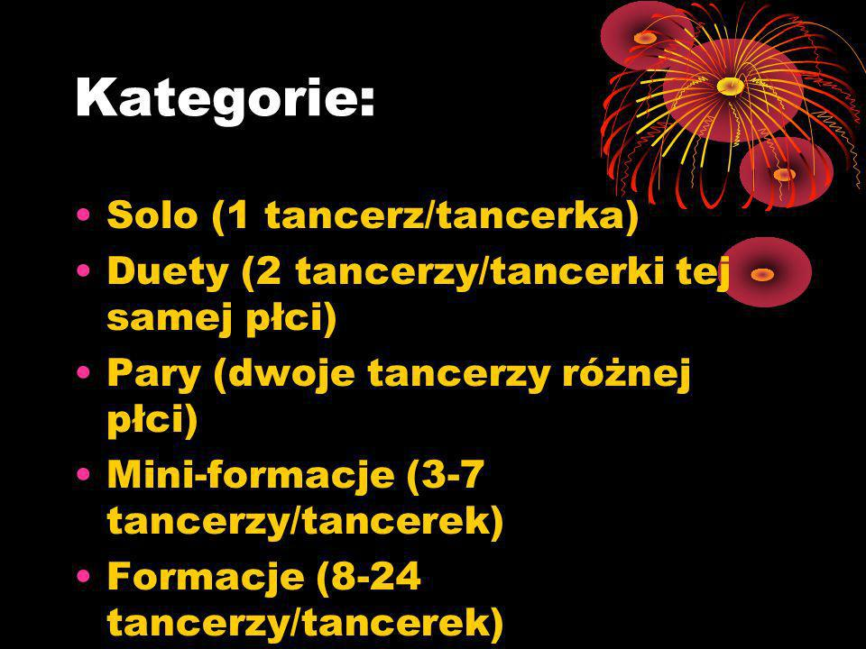 Kategorie: Solo (1 tancerz/tancerka) Duety (2 tancerzy/tancerki tej samej płci) Pary (dwoje tancerzy różnej płci) Mini-formacje (3-7 tancerzy/tancerek