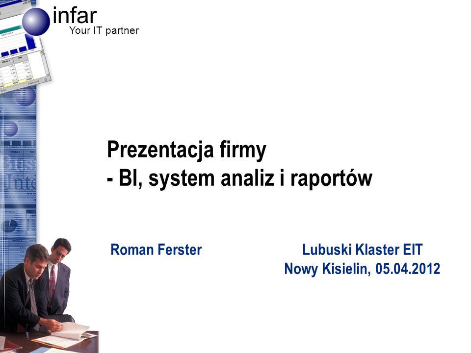 infar Your IT partner 2 Informacja o firmie Początki firmy: rok 2003 Lokalizacje –Zielona Góra (centrala) –Warszawa (wdrożenie, serwis) –Gdańsk (reprezentant handlowy) Plany rozwoju –Katowice lub Wrocław (wdrożenie, serwis) –Ok.