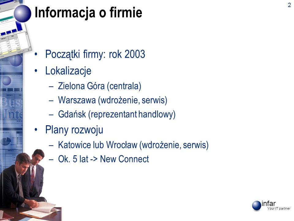 infar Your IT partner 2 Informacja o firmie Początki firmy: rok 2003 Lokalizacje –Zielona Góra (centrala) –Warszawa (wdrożenie, serwis) –Gdańsk (repre