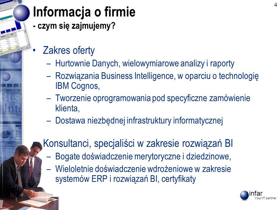 infar Your IT partner 4 Informacja o firmie - czym się zajmujemy? Zakres oferty –Hurtownie Danych, wielowymiarowe analizy i raporty –Rozwiązania Busin