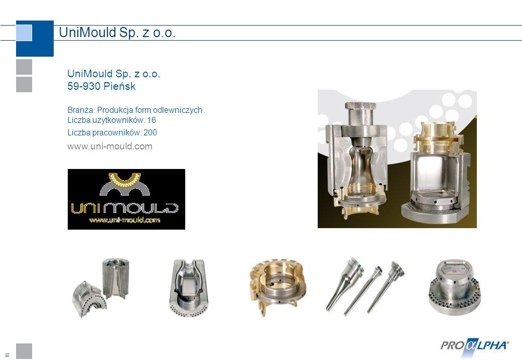 22 UniMould Sp. z o.o. 59-930 Pieńsk Branża: Produkcja form odlewniczych. Liczba użytkowników: 16 Liczba pracowników: 200 www.uni-mould.com