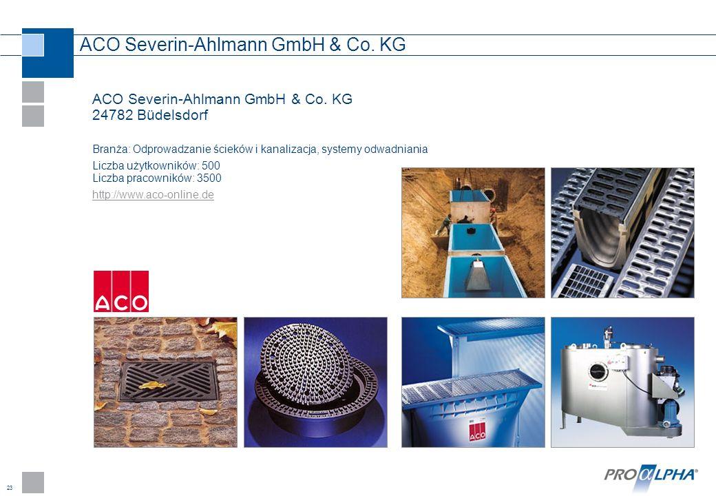 23 ACO Severin-Ahlmann GmbH & Co. KG ACO Severin-Ahlmann GmbH & Co. KG 24782 Büdelsdorf Branża: Odprowadzanie ścieków i kanalizacja, systemy odwadnian