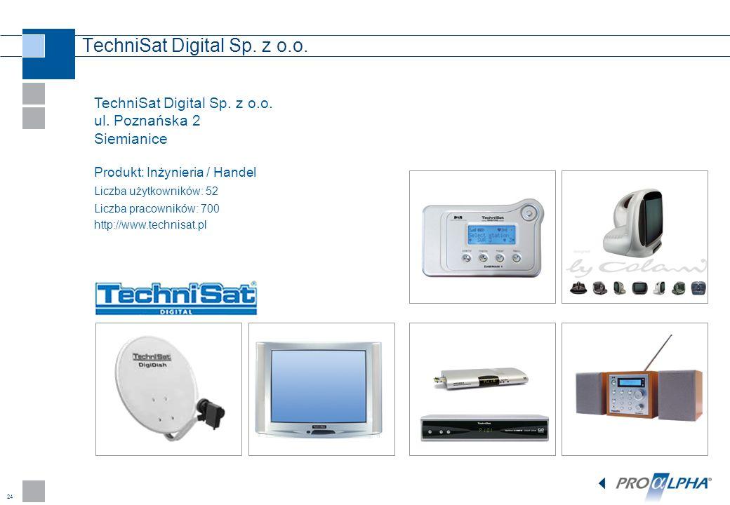 24 TechniSat Digital Sp. z o.o. ul. Poznańska 2 Siemianice Produkt: Inżynieria / Handel Liczba użytkowników: 52 Liczba pracowników: 700 http://www.tec
