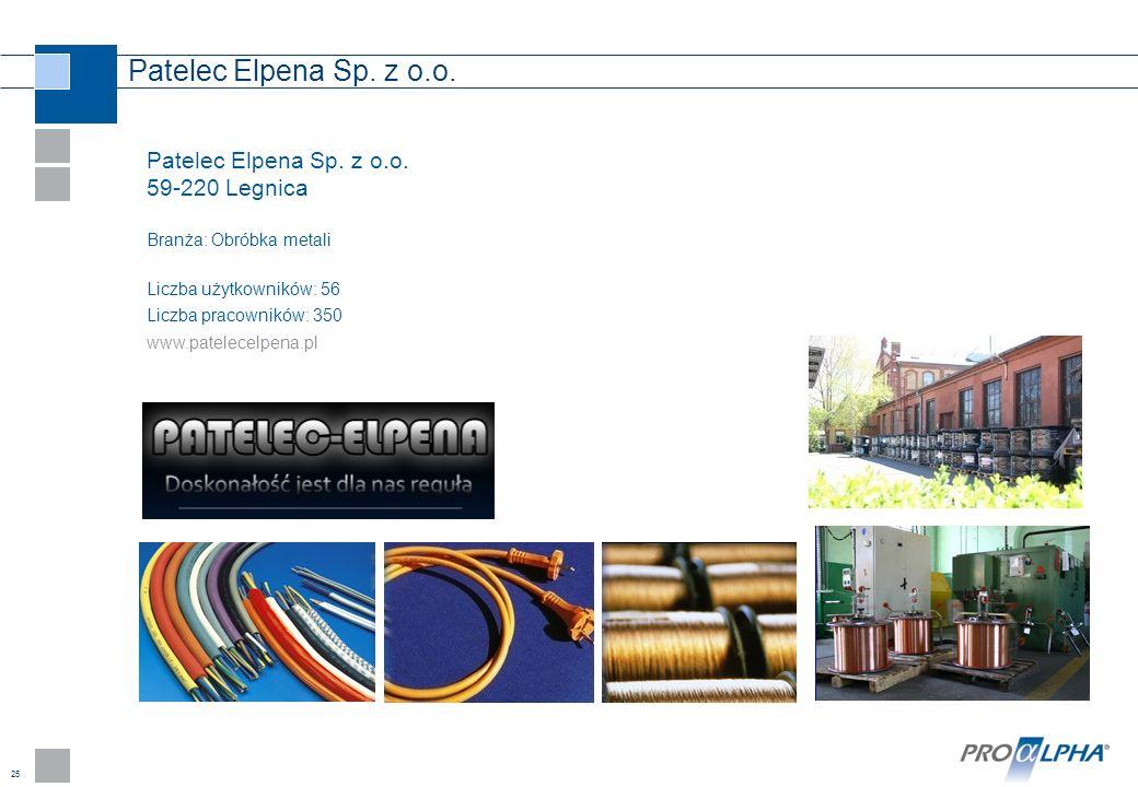 25 Patelec Elpena Sp. z o.o. 59-220 Legnica Branża: Obróbka metali Liczba użytkowników: 56 Liczba pracowników: 350 www.patelecelpena.pl