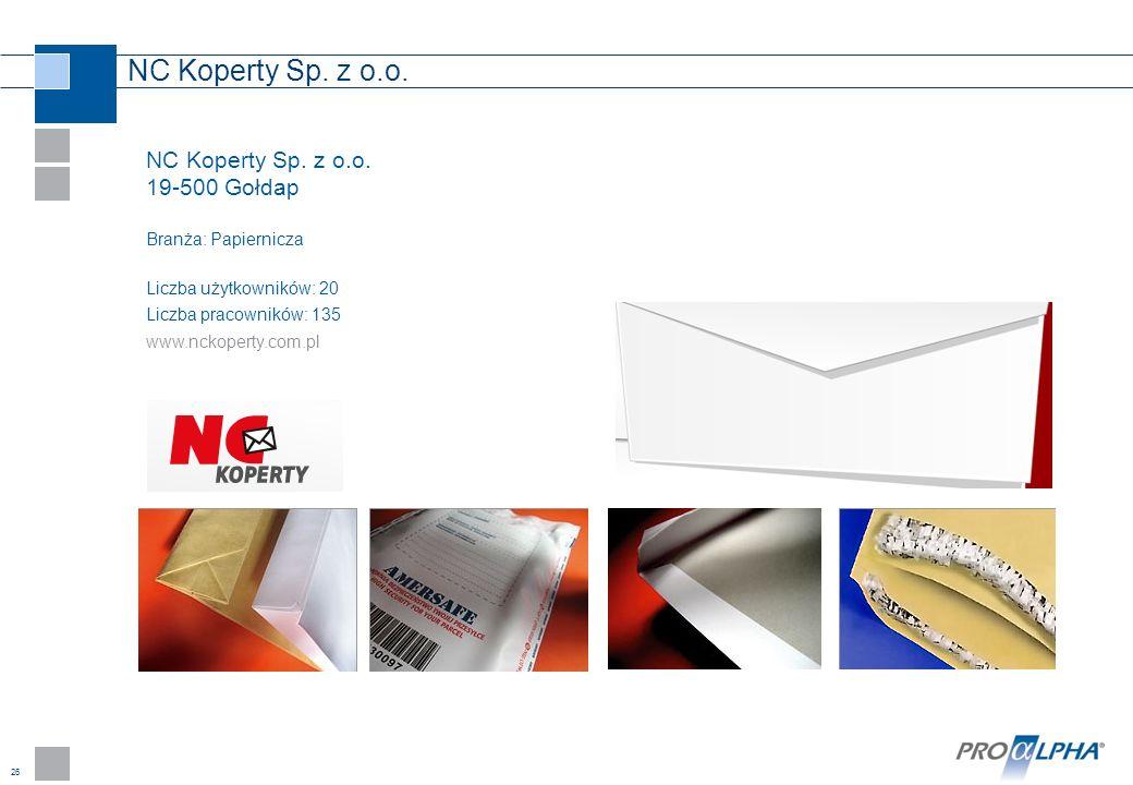 26 NC Koperty Sp. z o.o. 19-500 Gołdap Branża: Papiernicza Liczba użytkowników: 20 Liczba pracowników: 135 www.nckoperty.com.pl