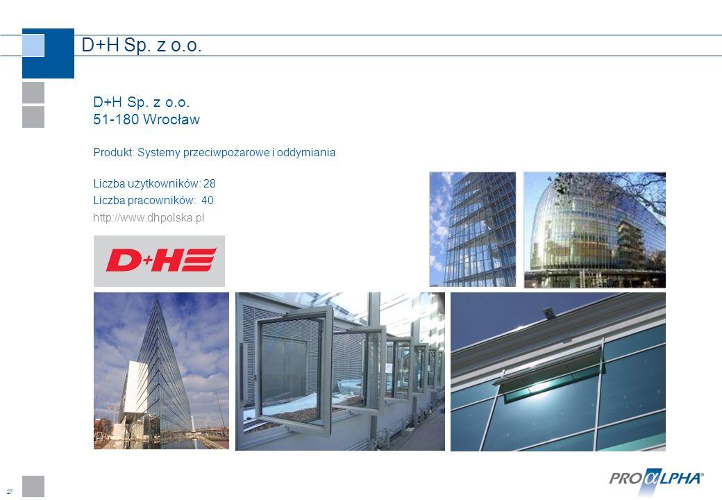 27 D+H Sp. z o.o. 51-180 Wrocław Produkt: Systemy przeciwpożarowe i oddymiania Liczba użytkowników: 28 Liczba pracowników: 40 http://www.dhpolska.pl