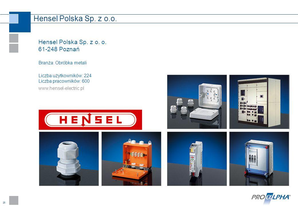 28 Hensel Polska Sp. z o.o. Hensel Polska Sp. z o. o. 61-248 Poznań Branża: Obróbka metali Liczba użytkowników: 224 Liczba pracowników: 600 www.hensel