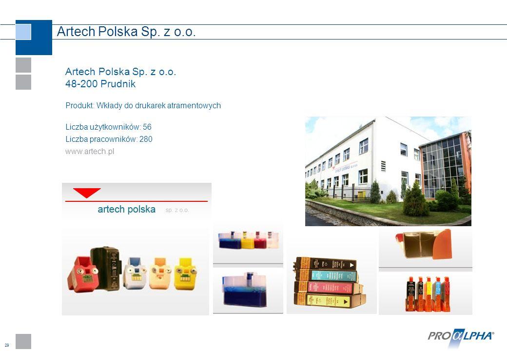 29 Artech Polska Sp. z o.o. 48-200 Prudnik Produkt: Wkłady do drukarek atramentowych Liczba użytkowników: 56 Liczba pracowników: 280 www.artech.pl