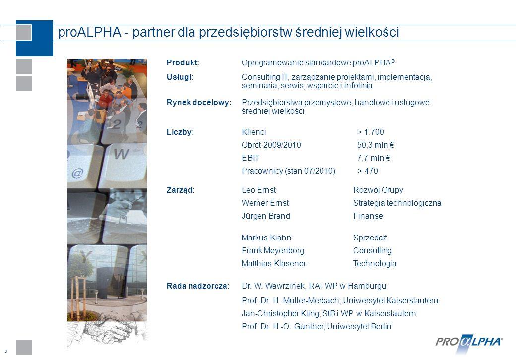 3 proALPHA - partner dla przedsiębiorstw średniej wielkości Produkt:Oprogramowanie standardowe proALPHA ® Usługi: Consulting IT, zarządzanie projektam