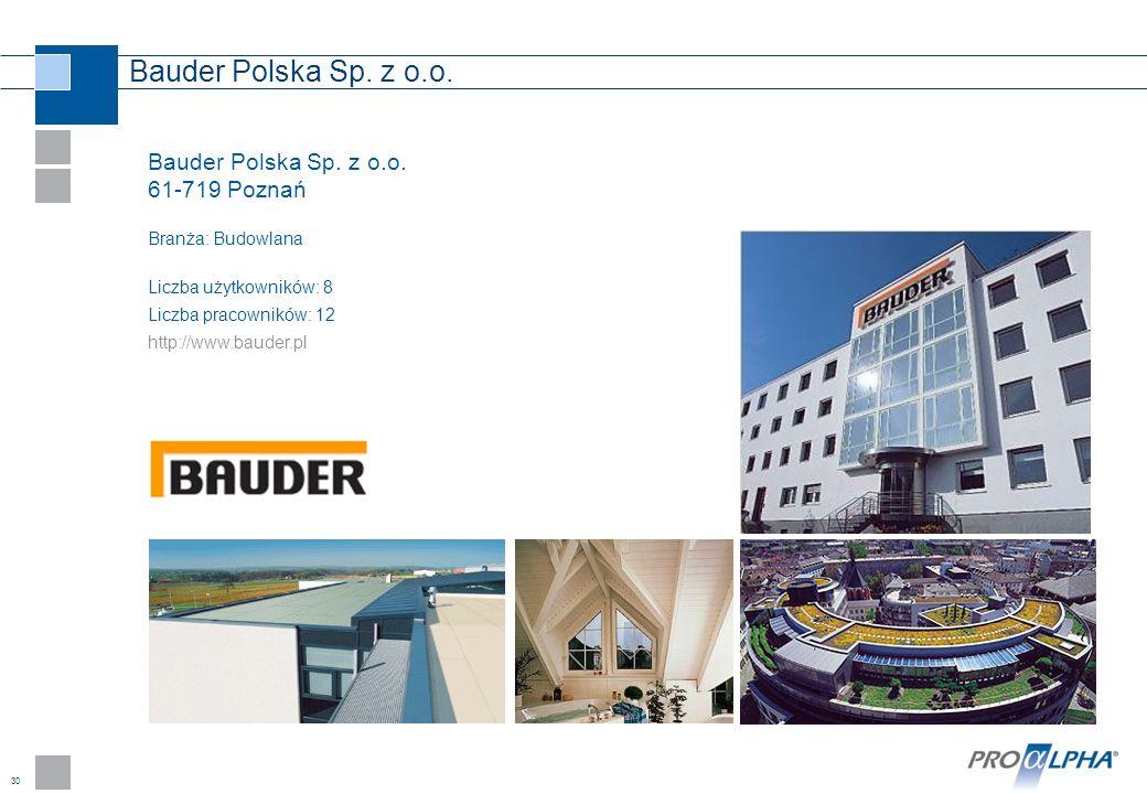 30 Bauder Polska Sp. z o.o. 61-719 Poznań Branża: Budowlana Liczba użytkowników: 8 Liczba pracowników: 12 http://www.bauder.pl