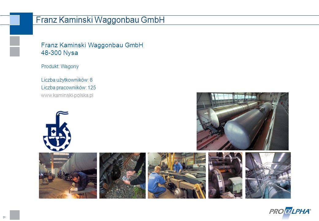 31 Franz Kaminski Waggonbau GmbH 48-300 Nysa Produkt: Wagony Liczba użytkowników: 8 Liczba pracowników: 125 www.kaminski-polska.pl