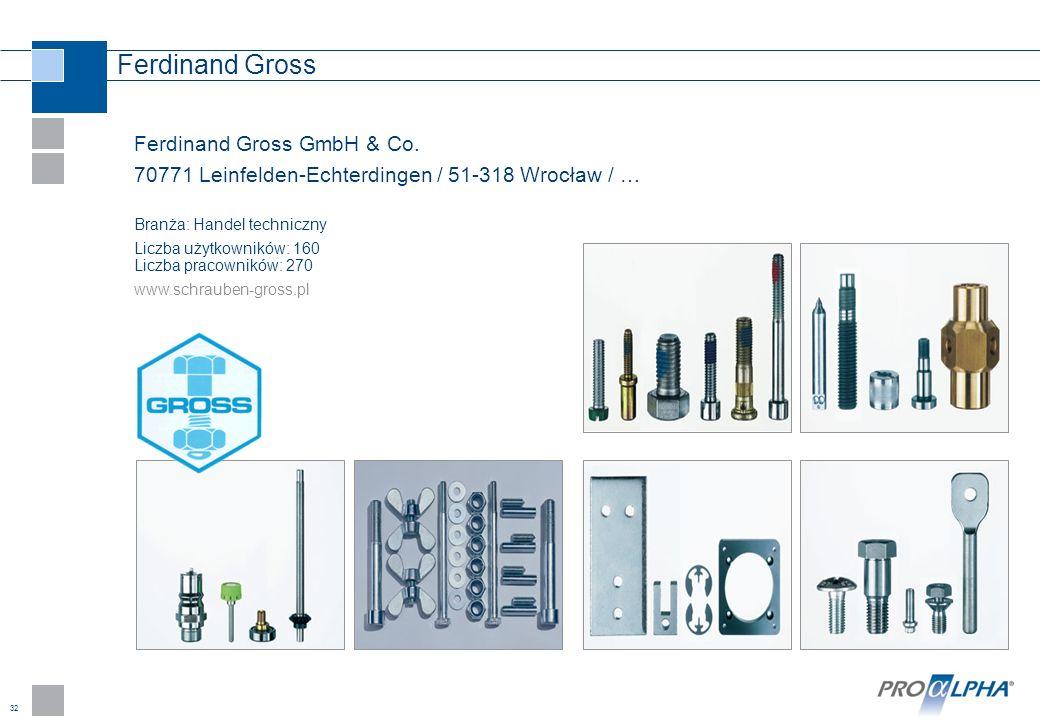 32 Ferdinand Gross Ferdinand Gross GmbH & Co. 70771 Leinfelden-Echterdingen / 51-318 Wrocław / … Branża: Handel techniczny Liczba użytkowników: 160 Li