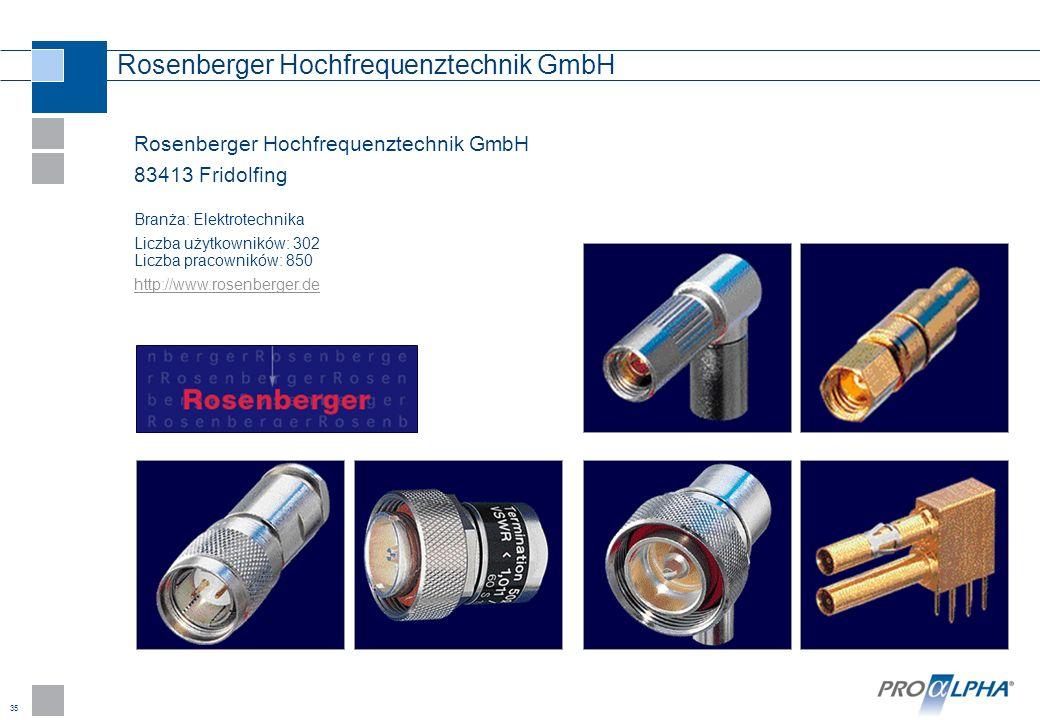 35 Rosenberger Hochfrequenztechnik GmbH 83413 Fridolfing Branża: Elektrotechnika Liczba użytkowników: 302 Liczba pracowników: 850 http://www.rosenberg