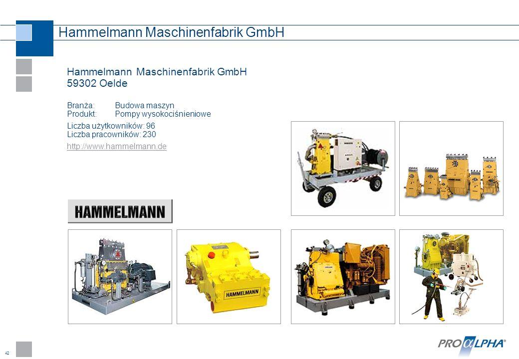 42 Hammelmann Maschinenfabrik GmbH Hammelmann Maschinenfabrik GmbH 59302 Oelde Branża:Budowa maszyn Produkt: Pompy wysokociśnieniowe Liczba użytkownik