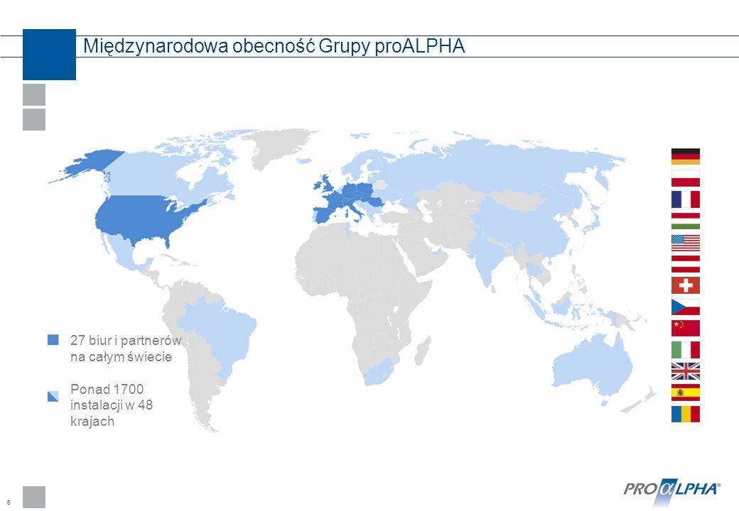 6 Międzynarodowa obecność Grupy proALPHA 27 biur i partnerów na całym świecie Ponad 1700 instalacji w 48 krajach