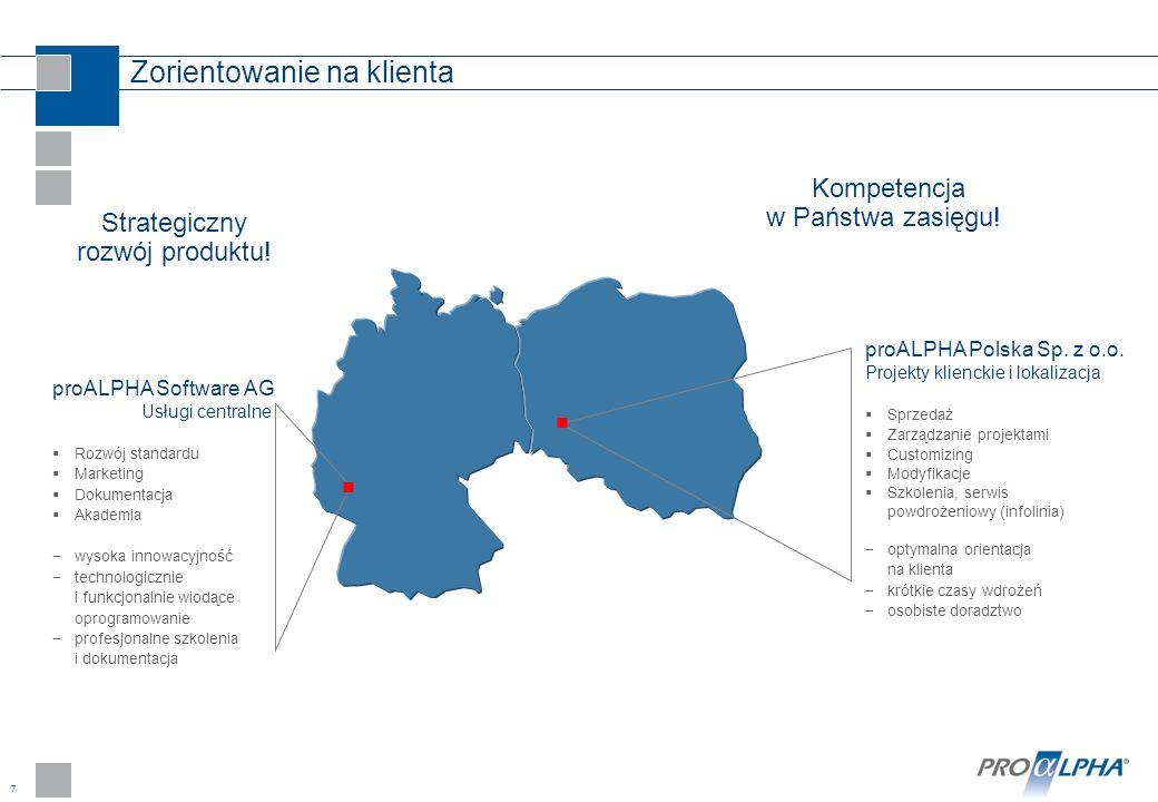 7 Zorientowanie na klienta Kompetencja w Państwa zasięgu! Strategiczny rozwój produktu! proALPHA Software AG Usługi centralne Rozwój standardu Marketi