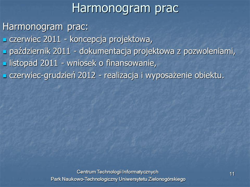 Centrum Technologii Informatycznych Park Naukowo-Technologiczny Uniwersytetu Zielonogórskiego 11 Harmonogram prac Harmonogram prac: czerwiec 2011 - ko