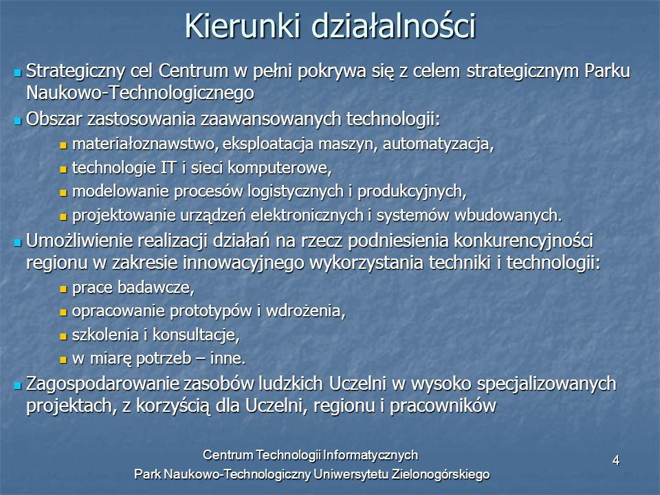 Centrum Technologii Informatycznych Park Naukowo-Technologiczny Uniwersytetu Zielonogórskiego 5 Cele i zadania Działania CTI obejmują prace badawczo-rozwojowe, szkolenia i konsultacje, współpracę w pozyskiwaniu środków unijnych i ministerialnych oraz inne prace w zakresie: - modelowania procesów logistycznych i produkcyjnych, - zaawansowanych technologii przemysłowych, - nowoczesnych rozwiązań IT, usług hostingowych, technologii sieci komputerowych itp.