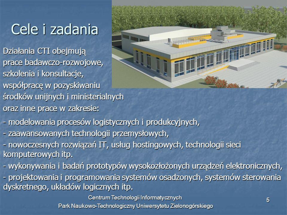 Centrum Technologii Informatycznych Park Naukowo-Technologiczny Uniwersytetu Zielonogórskiego 5 Cele i zadania Działania CTI obejmują prace badawczo-r