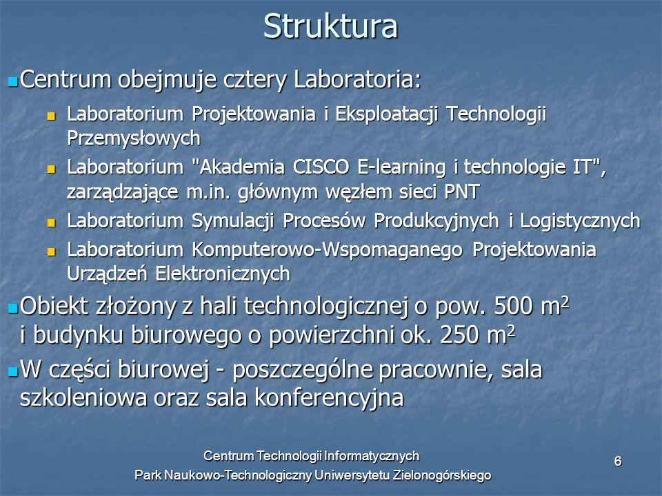 Centrum Technologii Informatycznych Park Naukowo-Technologiczny Uniwersytetu Zielonogórskiego 6 Centrum obejmuje cztery Laboratoria: Centrum obejmuje