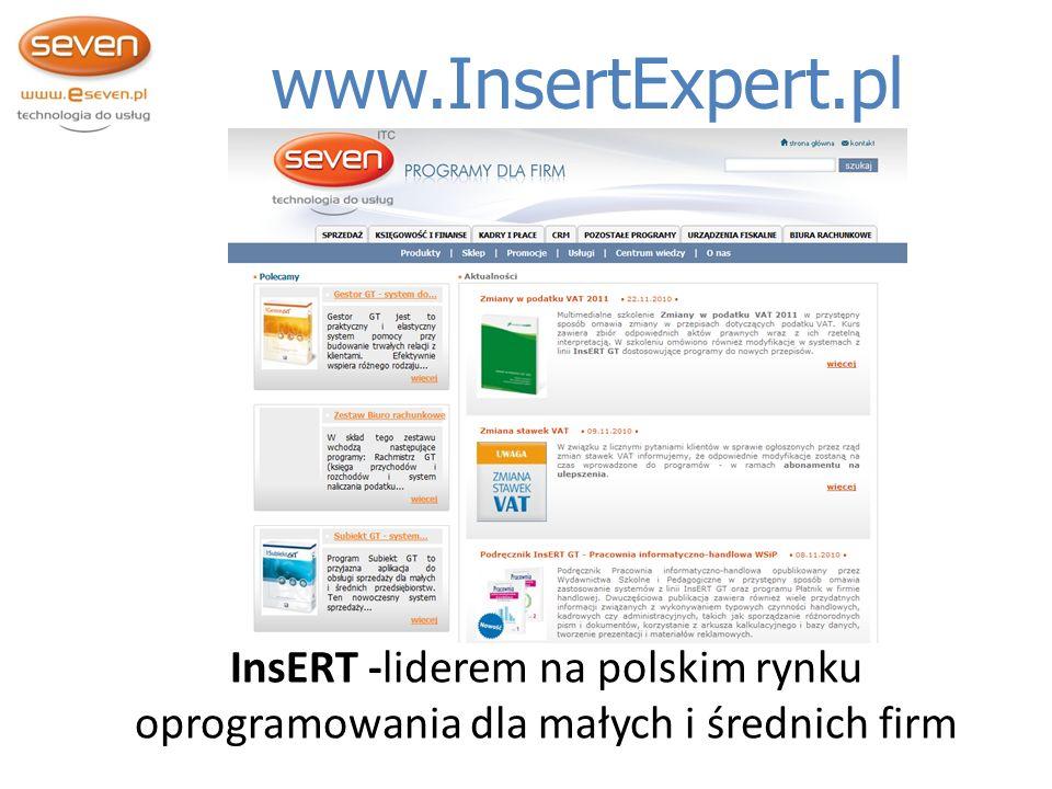 Systemy Finansowo Księgowe www.InsertExpert.pl InsERT -liderem na polskim rynku oprogramowania dla małych i średnich firm