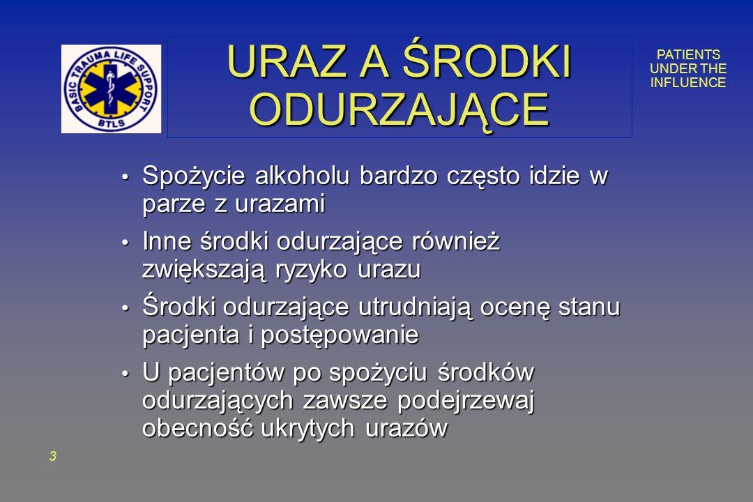 PATIENTS UNDER THE INFLUENCE 3 URAZ A ŚRODKI ODURZAJĄCE Spożycie alkoholu bardzo często idzie w parze z urazami Spożycie alkoholu bardzo często idzie w parze z urazami Inne środki odurzające również zwiększają ryzyko urazu Inne środki odurzające również zwiększają ryzyko urazu Środki odurzające utrudniają ocenę stanu pacjenta i postępowanie Środki odurzające utrudniają ocenę stanu pacjenta i postępowanie U pacjentów po spożyciu środków odurzających zawsze podejrzewaj obecność ukrytych urazów U pacjentów po spożyciu środków odurzających zawsze podejrzewaj obecność ukrytych urazów