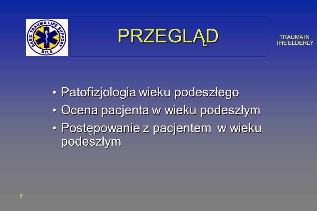 TRAUMA IN THE ELDERLY 2 PRZEGLĄDPRZEGLĄD Patofizjologia wieku podeszłego Patofizjologia wieku podeszłego Ocena pacjenta w wieku podeszłym Ocena pacjen