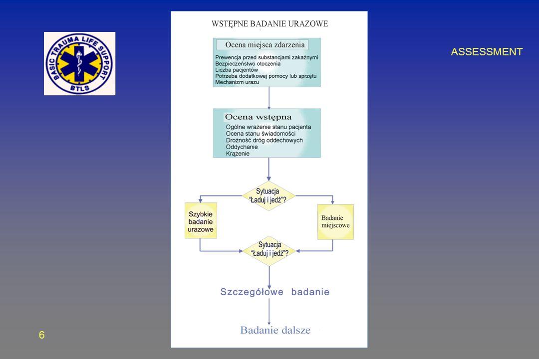 7 OCENA WSTĘPNA Wrażenie ogólne Wrażenie ogólne Stabilizacja kręgosłupa szyjnego i ocena stanu świadomości Stabilizacja kręgosłupa szyjnego i ocena stanu świadomości Drożność dróg oddechowych Drożność dróg oddechowych Oddychanie Oddychanie Krążenie Krążenie